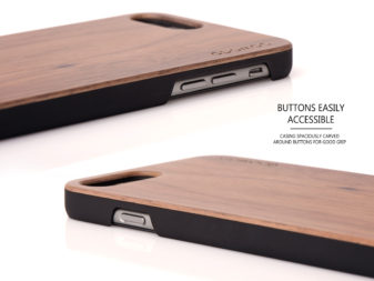 iPhone 6 Plus wood case walnut buttons