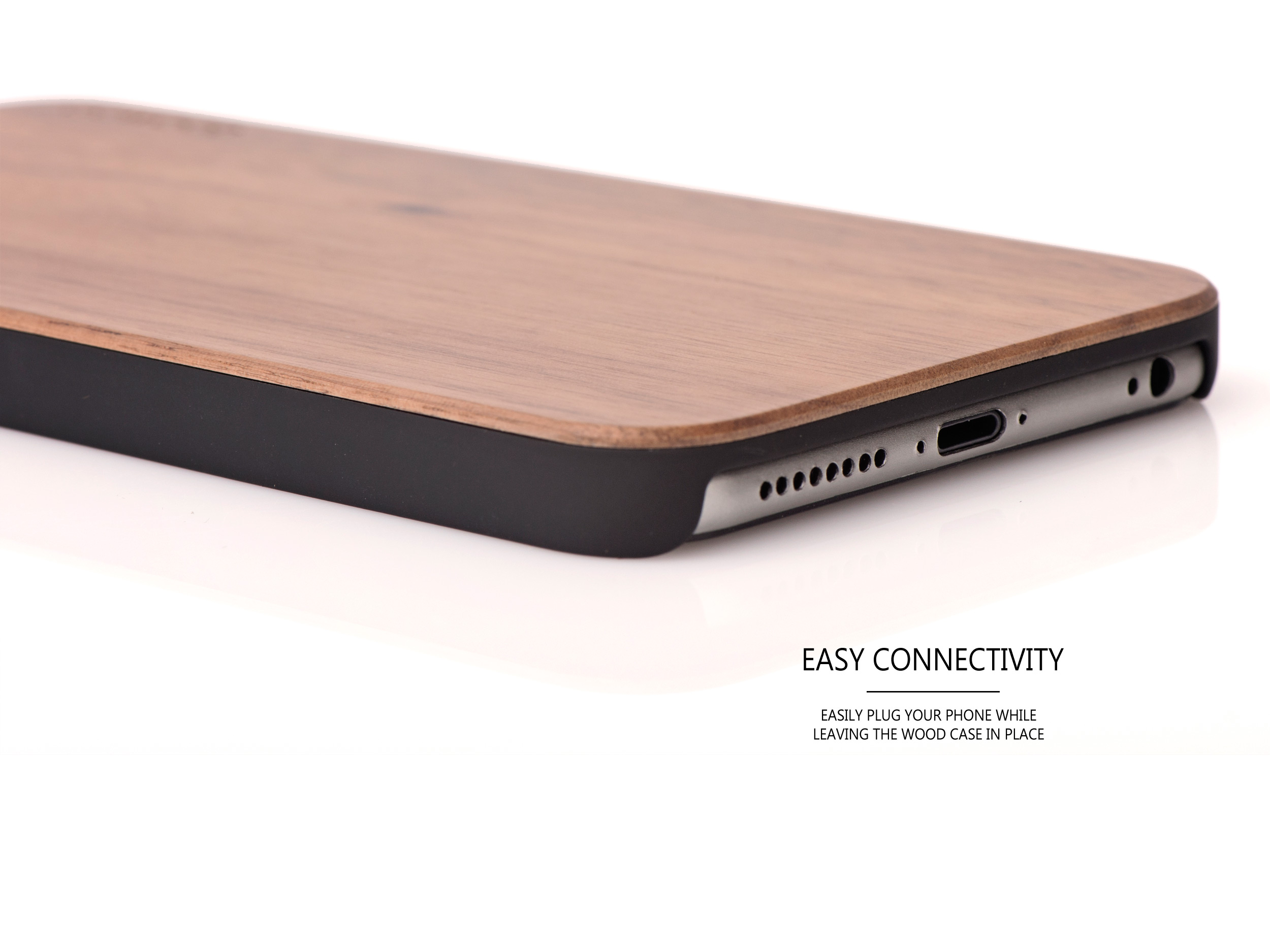 iPhone 6 Plus wood case walnut connectivity