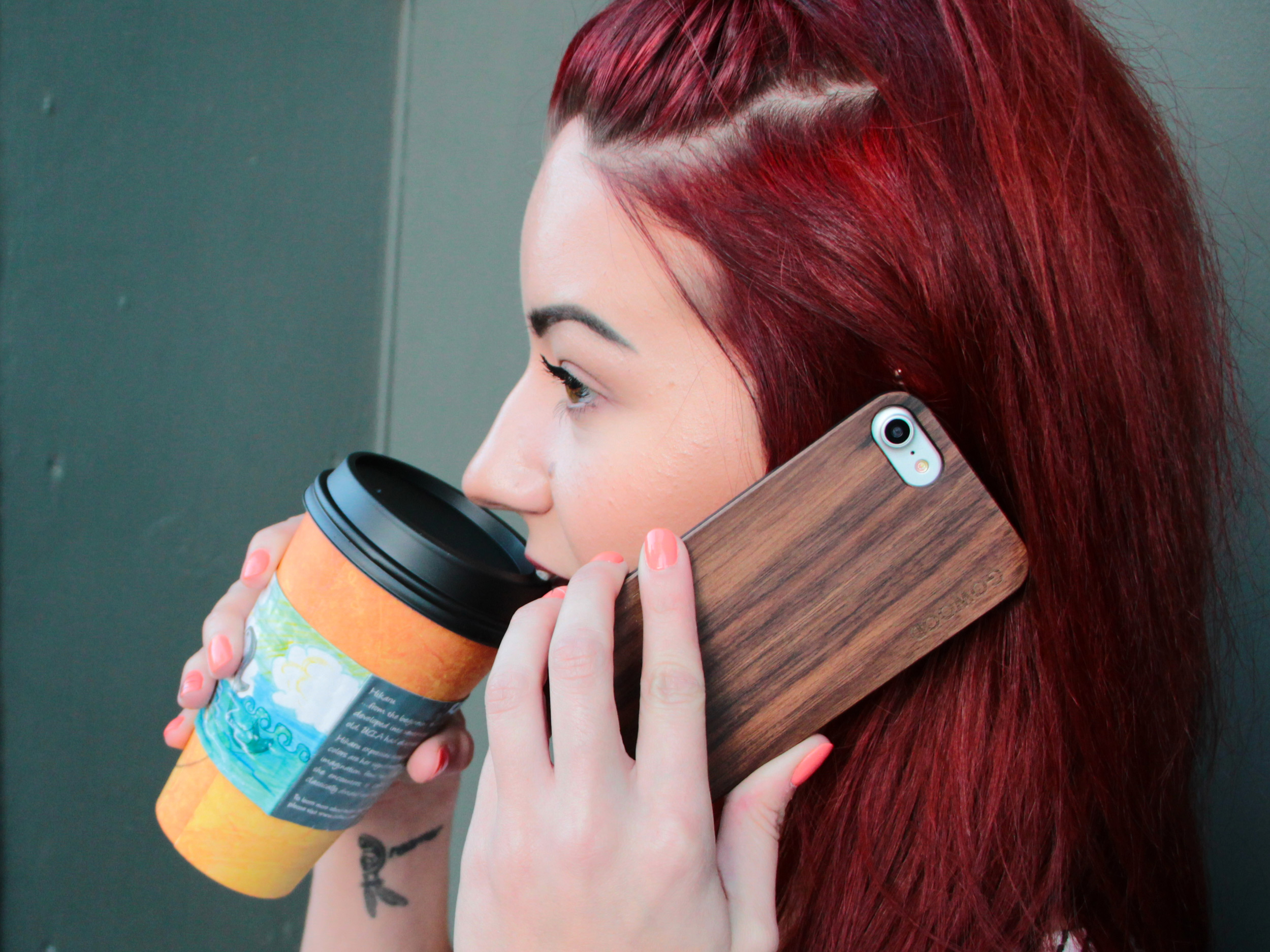 iPhone 6 Plus wood case walnut girl