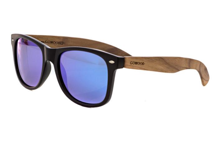 Walnut wood wayfarer sunglasses blue mirrored lenses – angle
