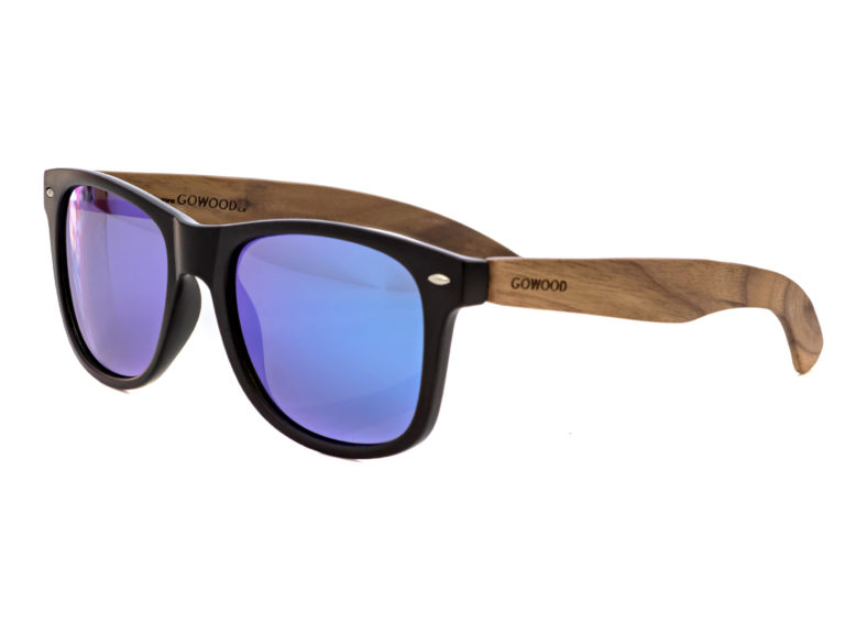 Walnut wood wayfarer sunglasses blue mirrored lenses – angle