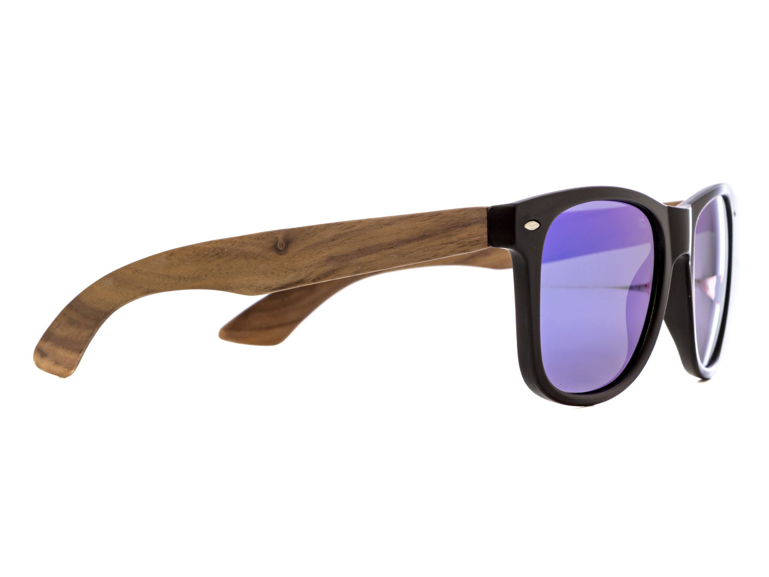 Walnut wood wayfarer sunglasses blue mirrored lenses - angle right