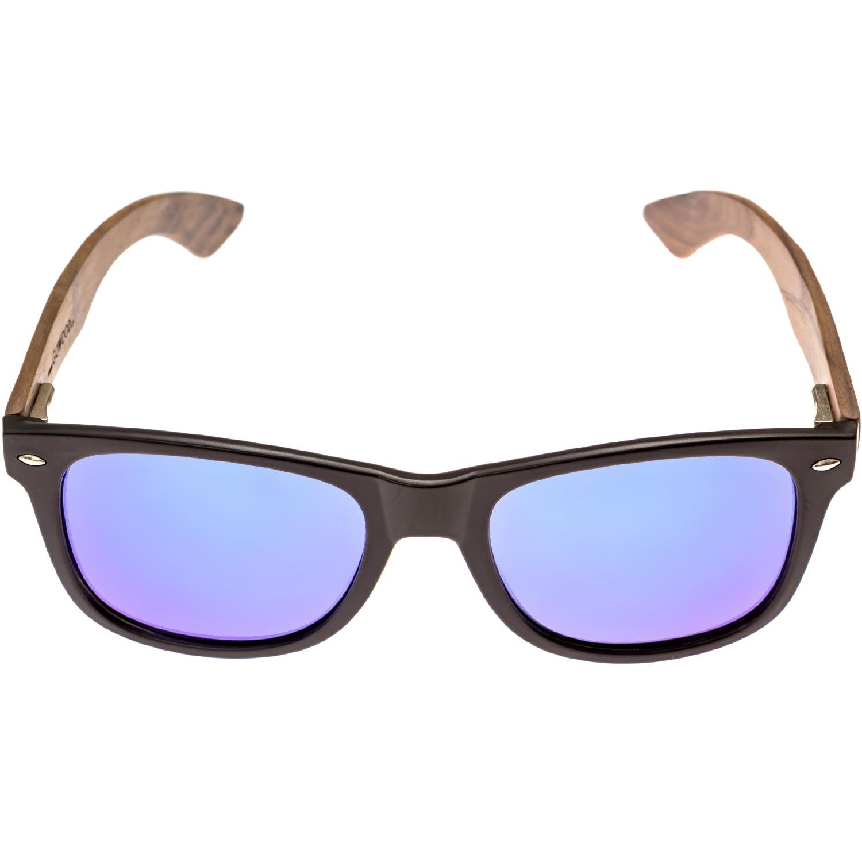 Walnut wood wayfarer sunglasses blue lenses acetate front frame