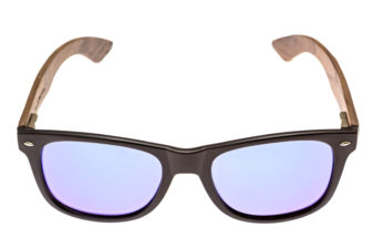 Walnut wood wayfarer sunglasses blue mirrored lenses - front