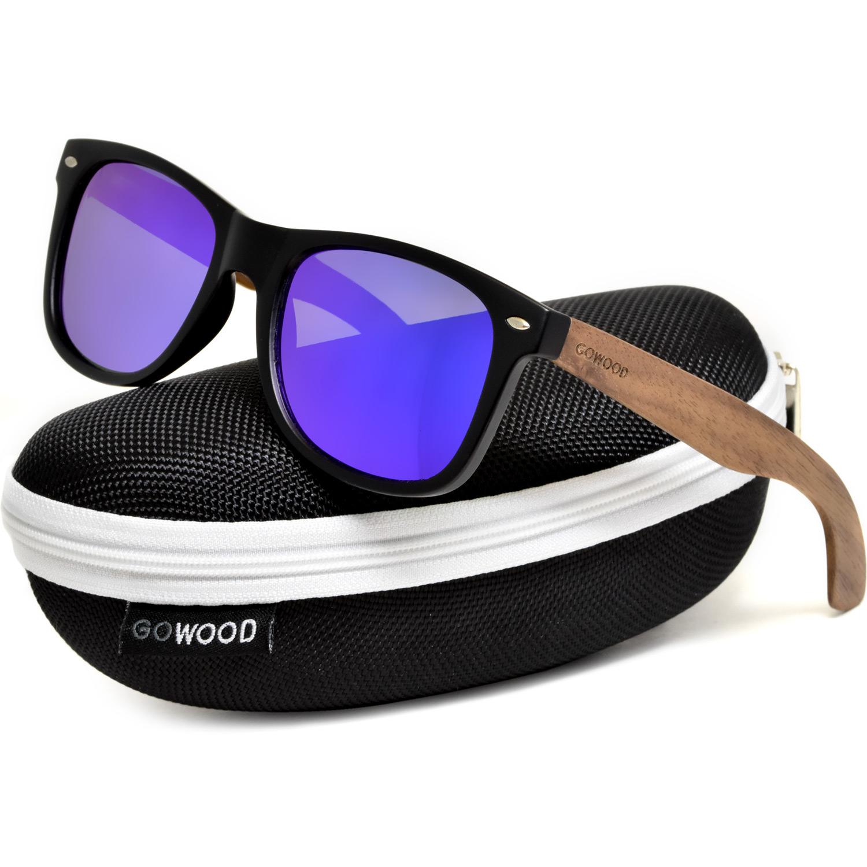 Walnut wood wayfarer sunglasses blue lenses zipper case
