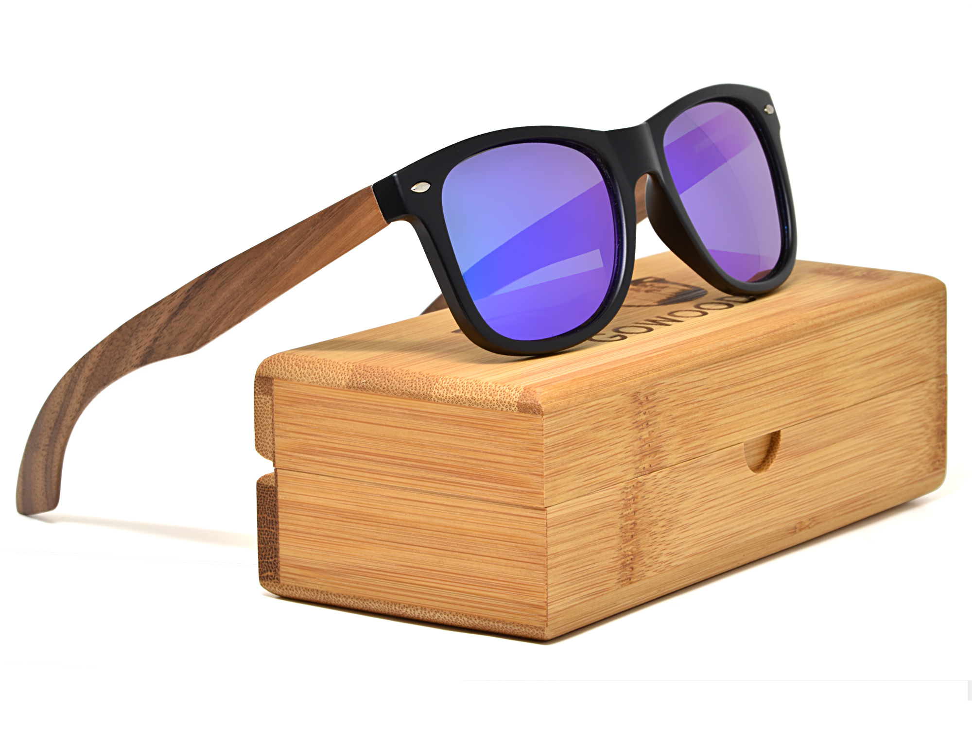 Walnut wood wayfarer sunglasses blue mirrored lenses box