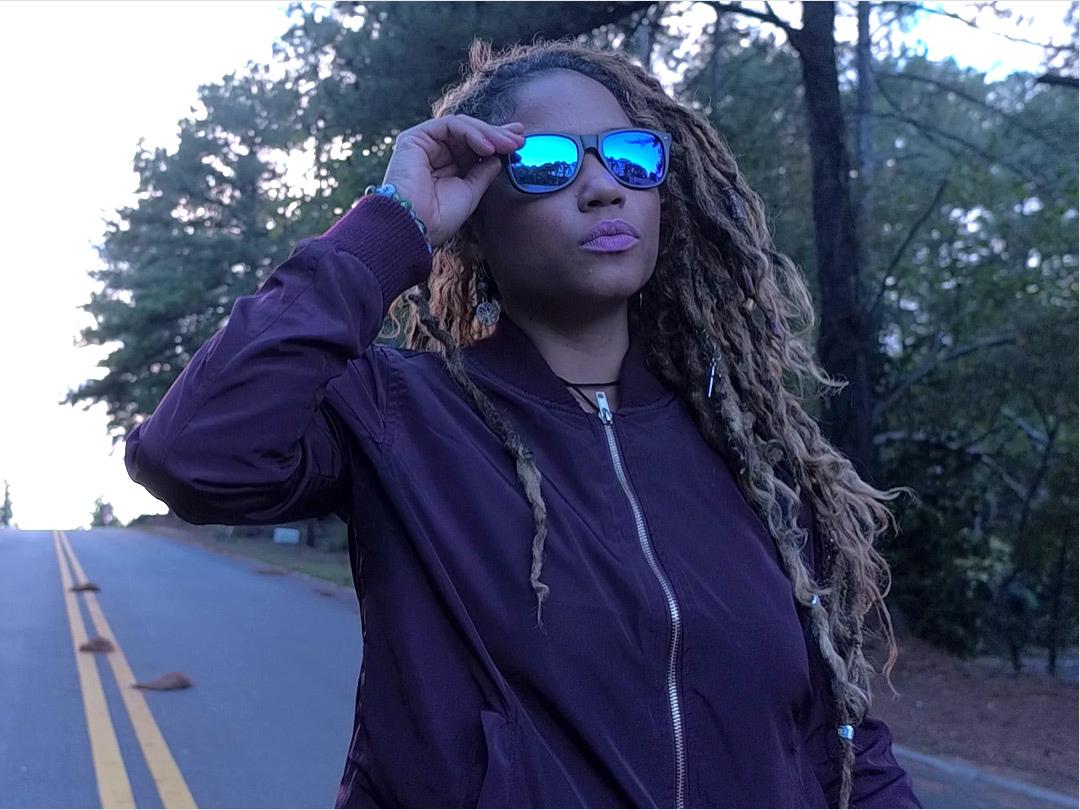 Walnut wood sunglasses blue mirrored lenses model