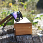 Walnut wood wayfarer sunglasses blue mirrored lenses – outdoor