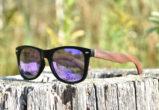 Walnut wood wayfarer sunglasses blue mirrored lenses – outdoor