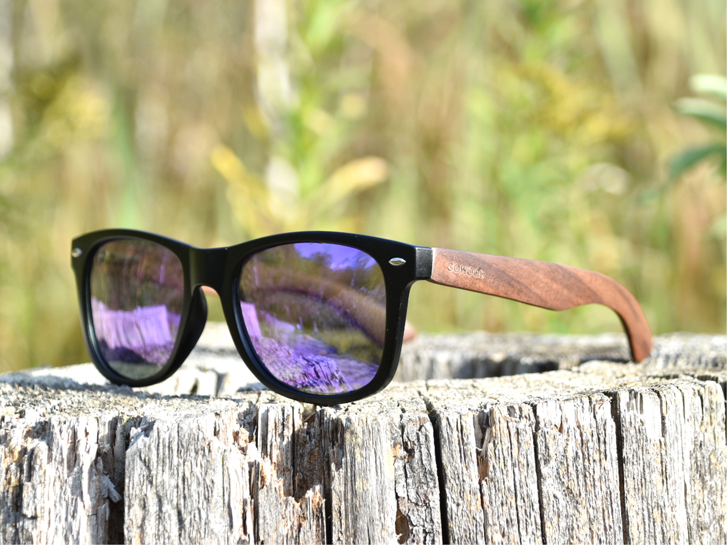Walnut wood wayfarer sunglasses blue mirrored lenses - outdoor