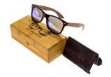 Walnut wood wayfarer sunglasses blue mirrored lenses – set