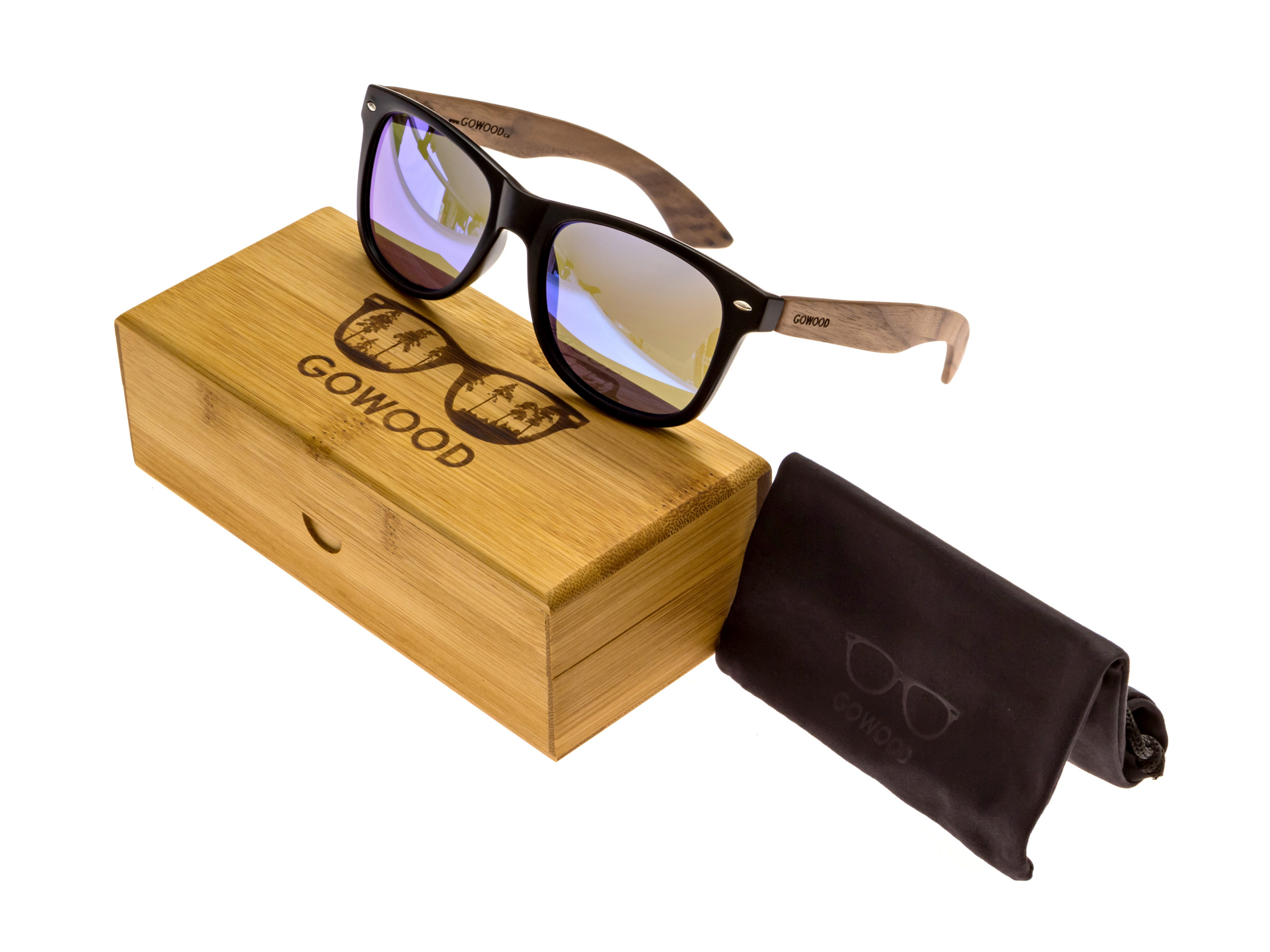 Walnut wood wayfarer sunglasses blue mirrored lenses - set