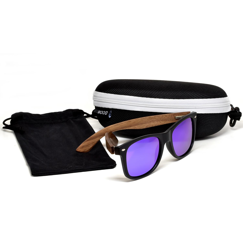 Walnut wood wayfarer sunglasses blue lenses set