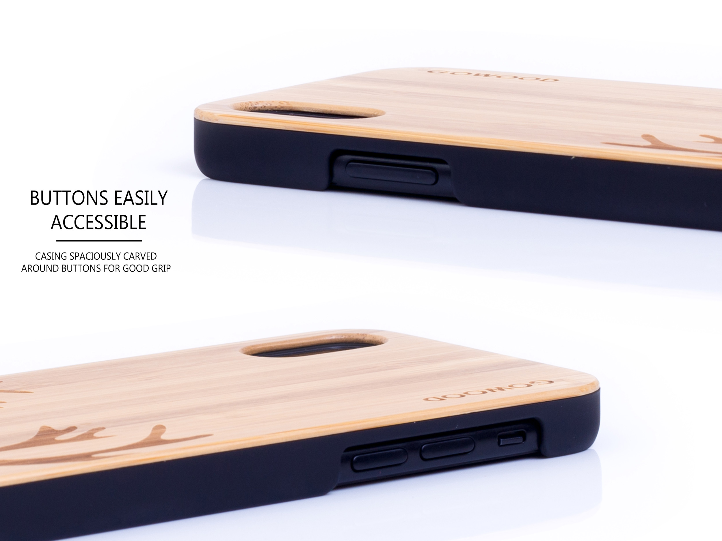 iPhone X and XS wood case bamboo deer buttons