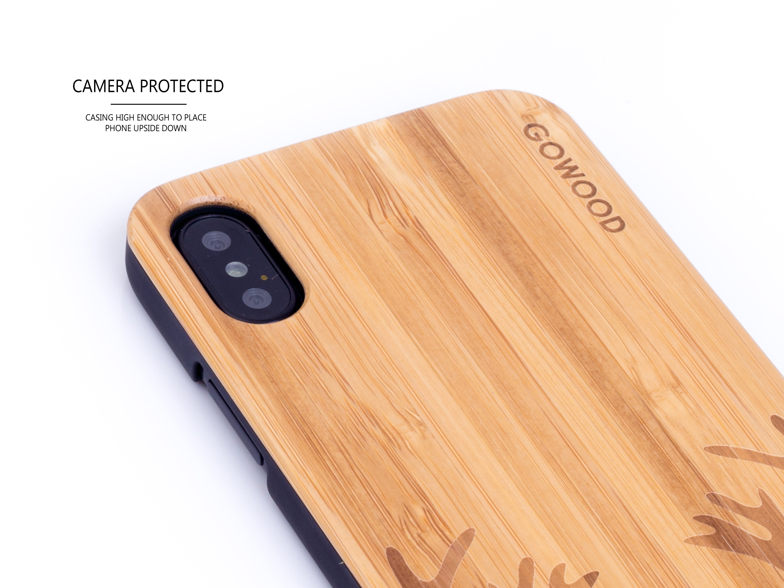 iPhone X wood case bamboo deer camera