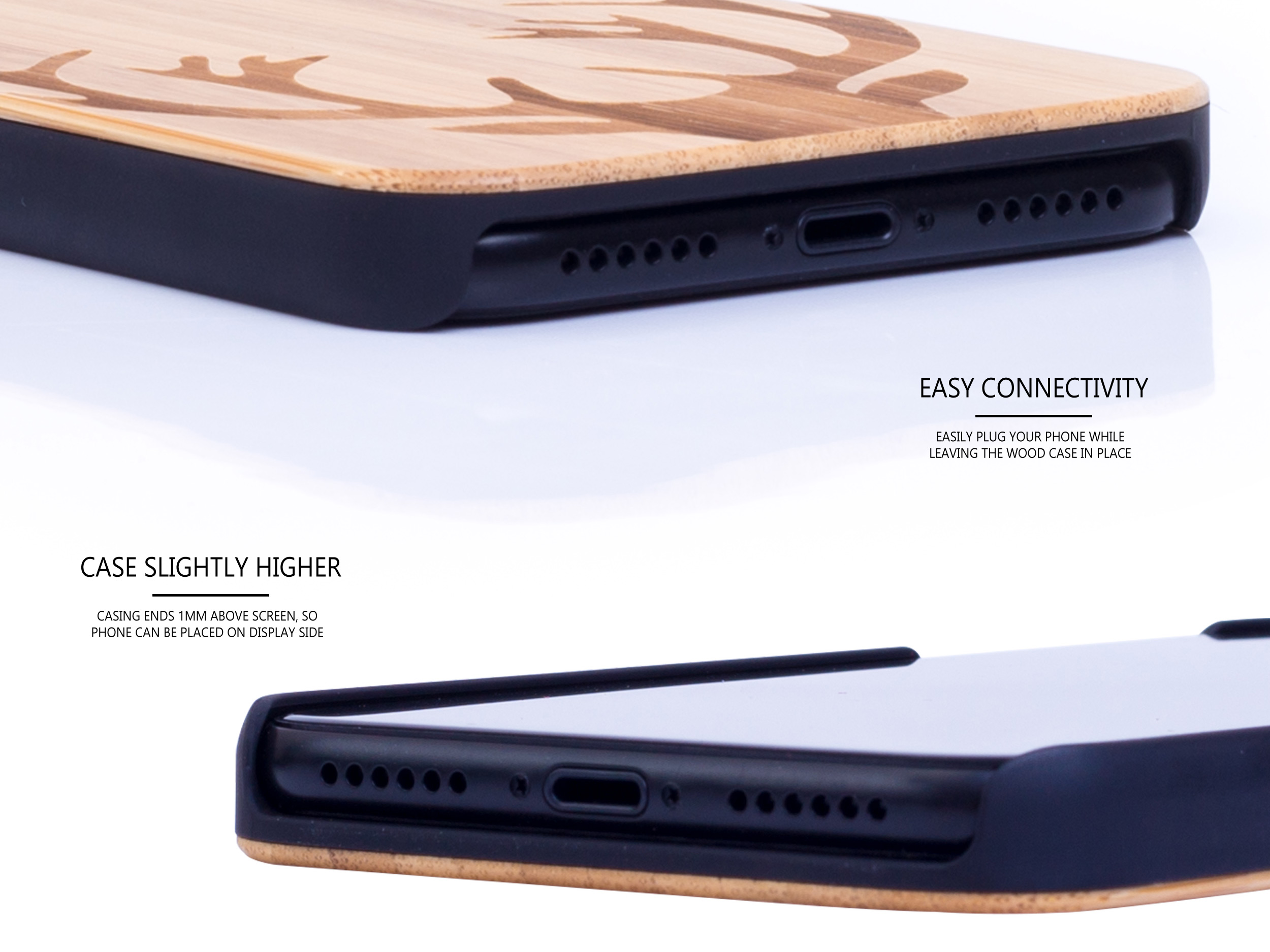 iPhone X and XS wood case bamboo deer connectivity