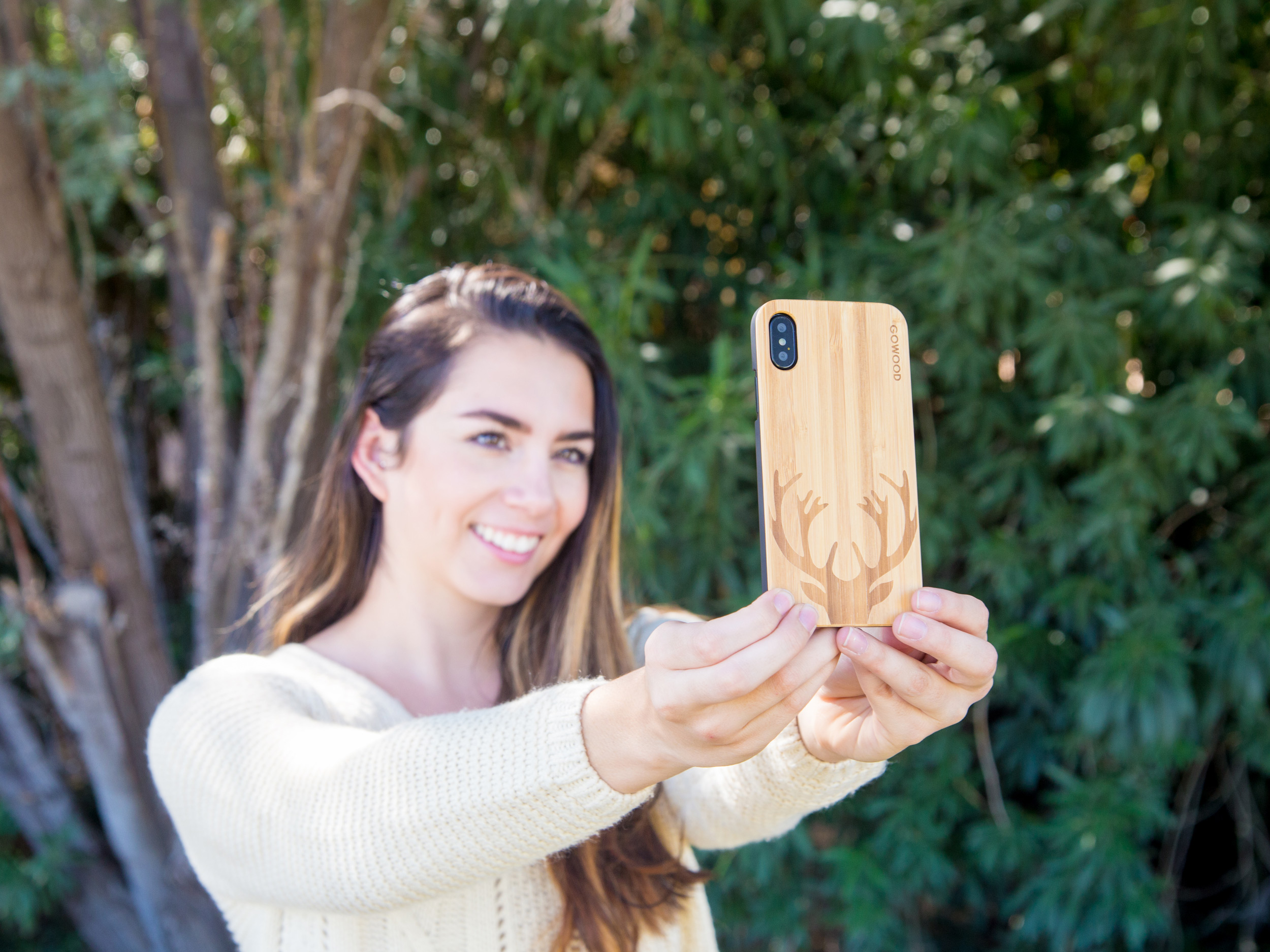 iPhone X and XS wood case bamboo deer