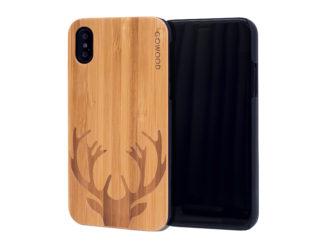 étui iPhone X en bois bambou chevreuil