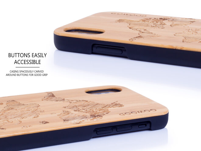iPhone X and XS wood case bamboo world map buttons