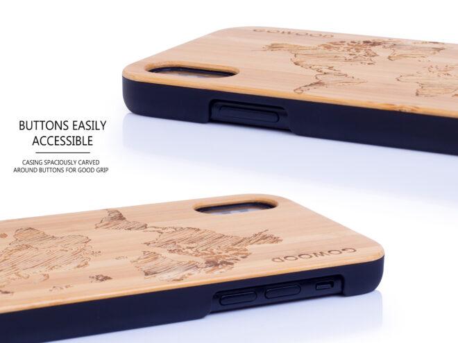 étui iPhone X en bois bambou carte du monde côtés