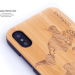 iPhone X wood case bamboo world map camera