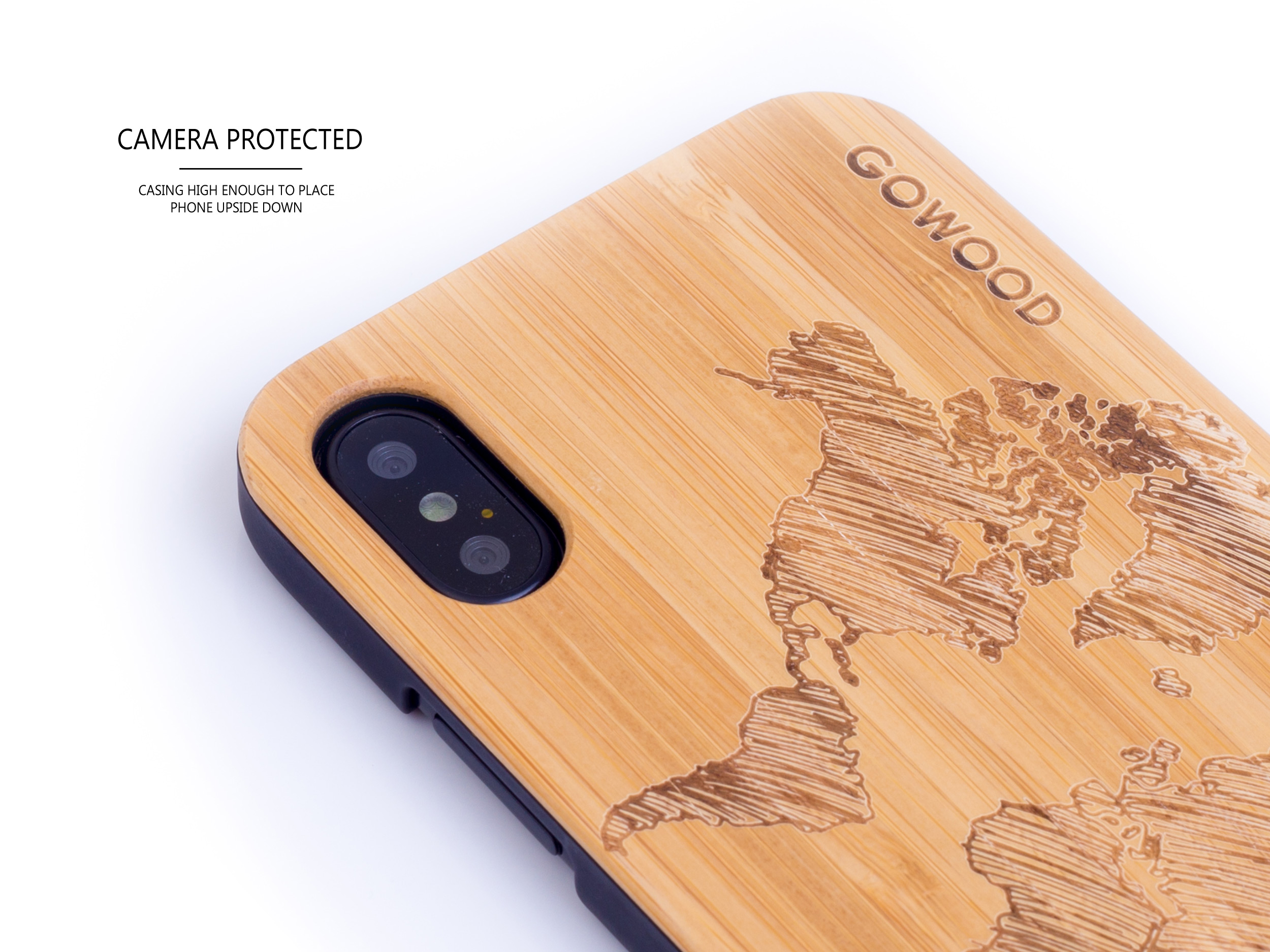 étui iPhone X en bois bambou carte du monde camera
