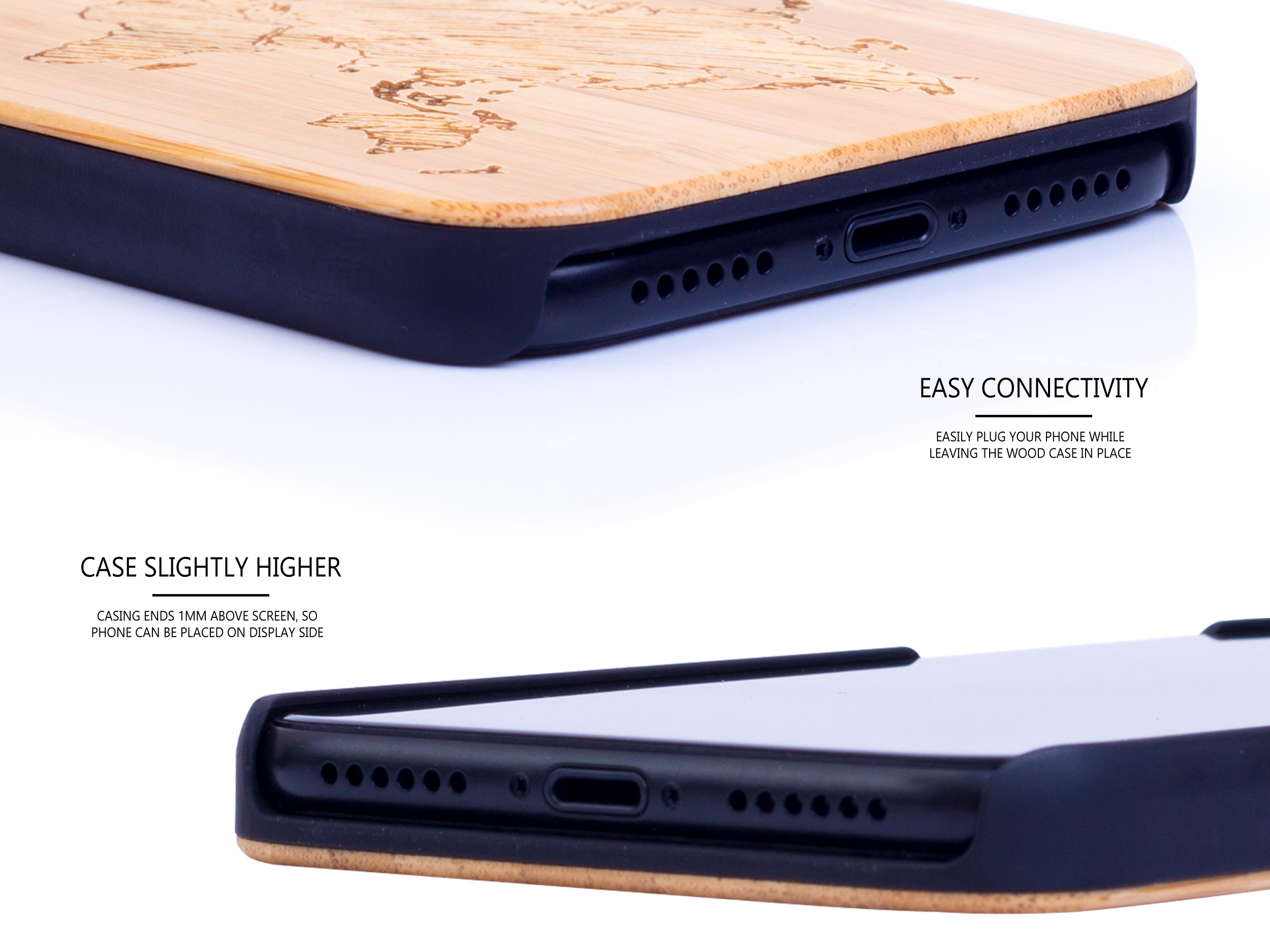 iPhone X and XS wood case bamboo world map connectivity