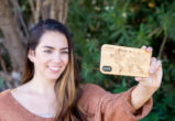 iPhone X wood case bamboo world map model
