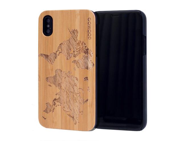 étui iPhone X en bois bambou carte du monde