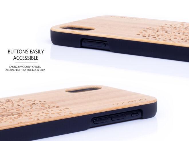 étui iPhone X en bois bambou arbre côtés