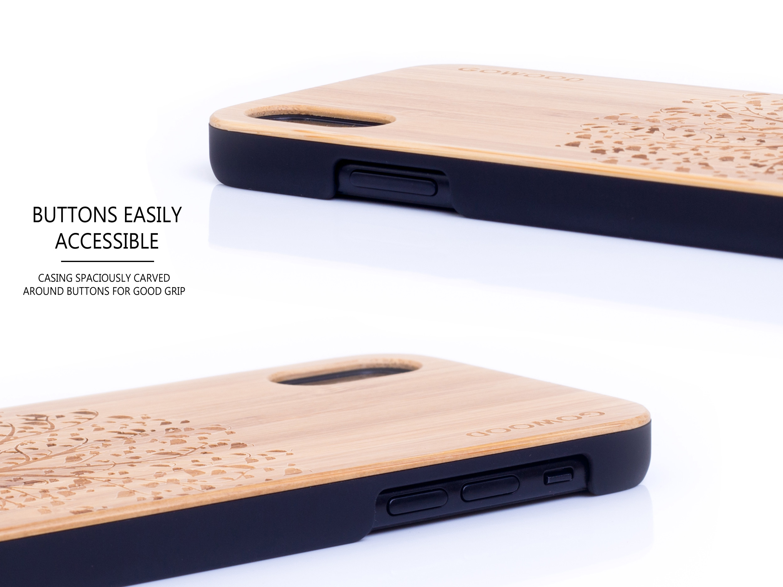 iPhone X and XS wood case bamboo tree buttons