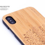 iPhone X wood case bamboo tree camera