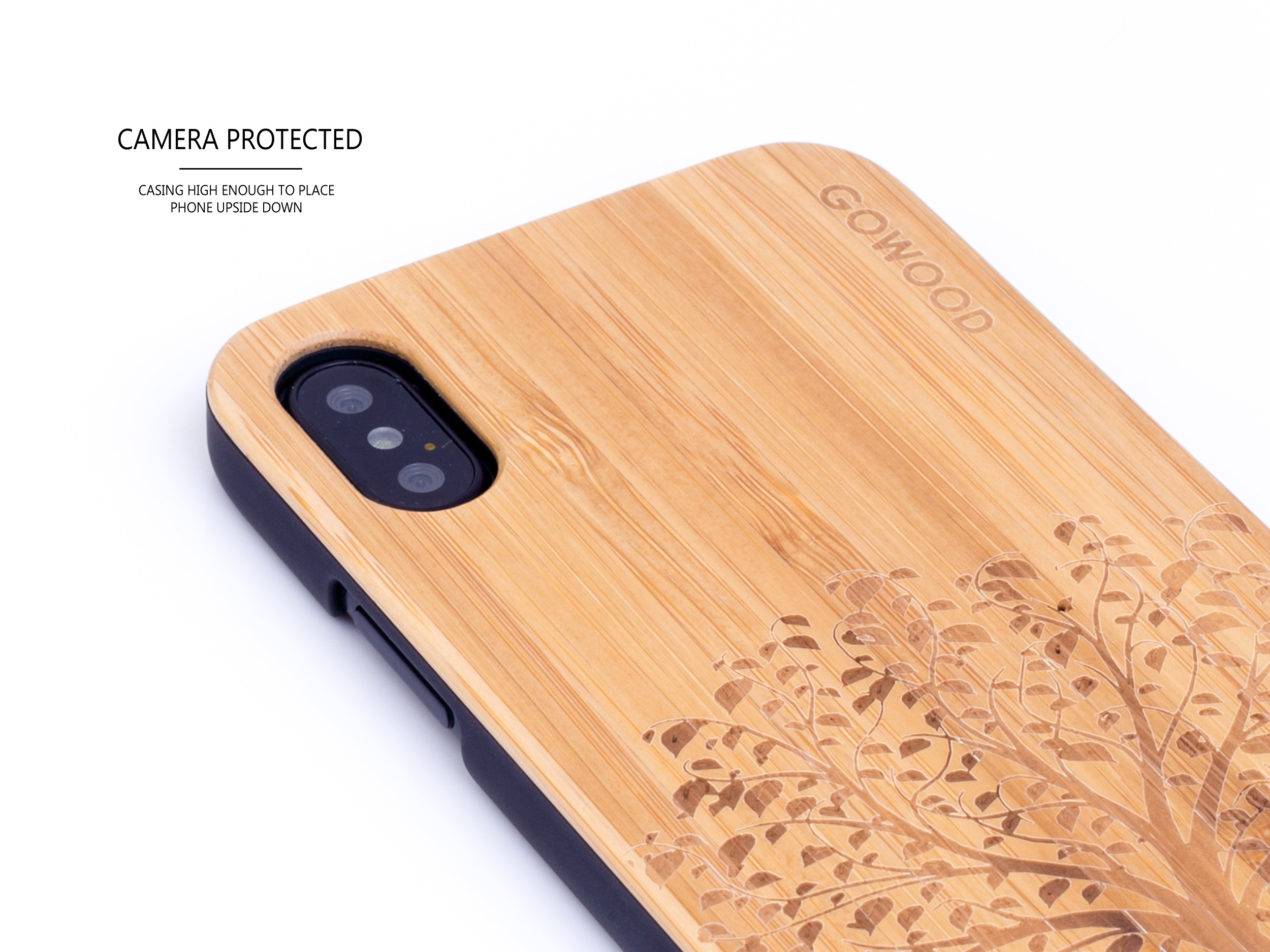 étui iPhone X en bois bambou arbre camera