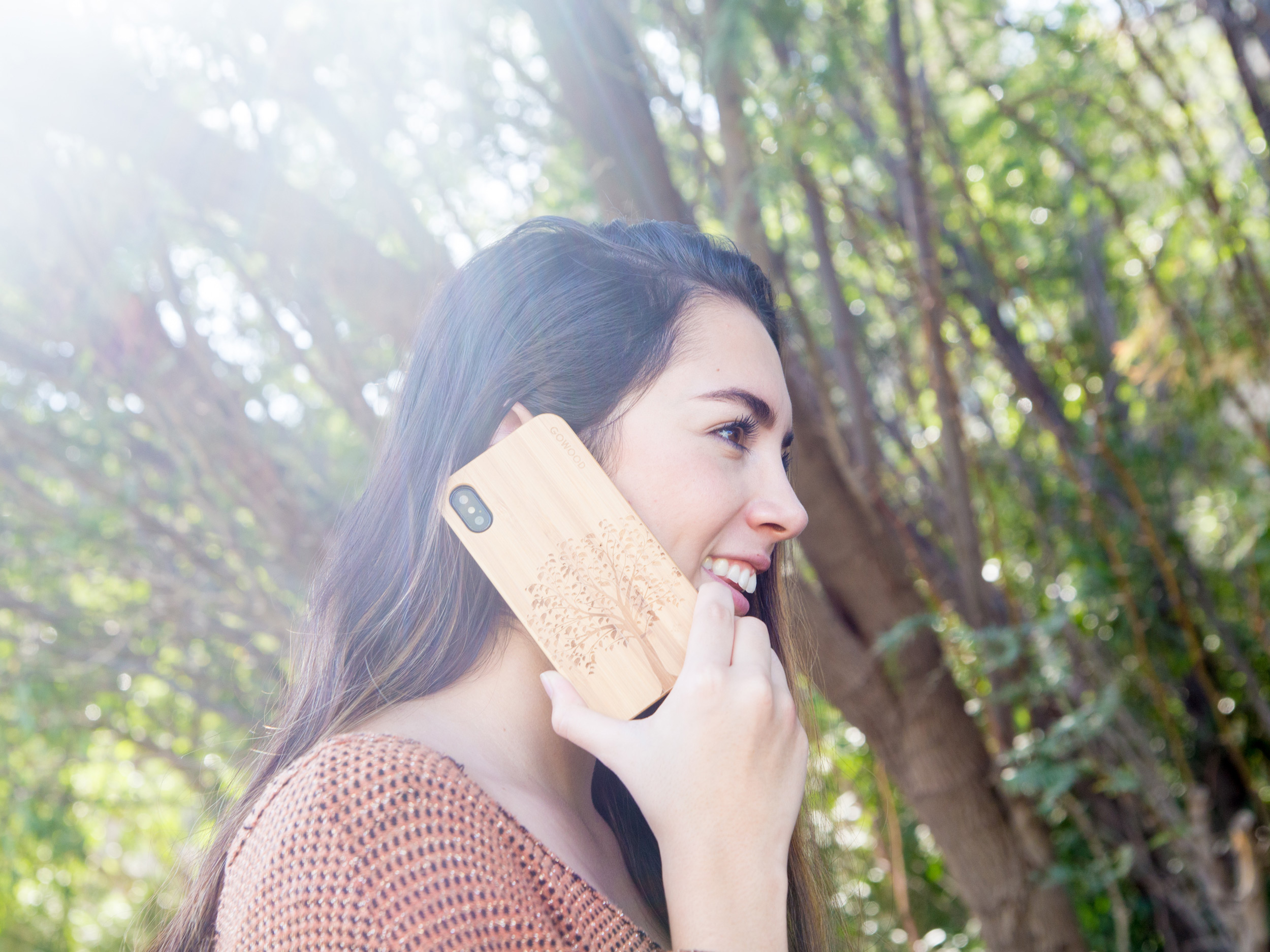 iPhone X and XS wood case bamboo tree model