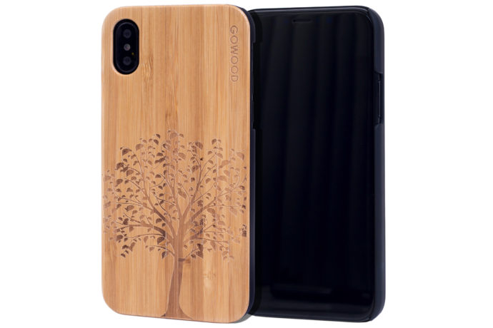 iPhone X wood case bamboo tree