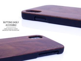 étui iPhone X en bois noyer côtés