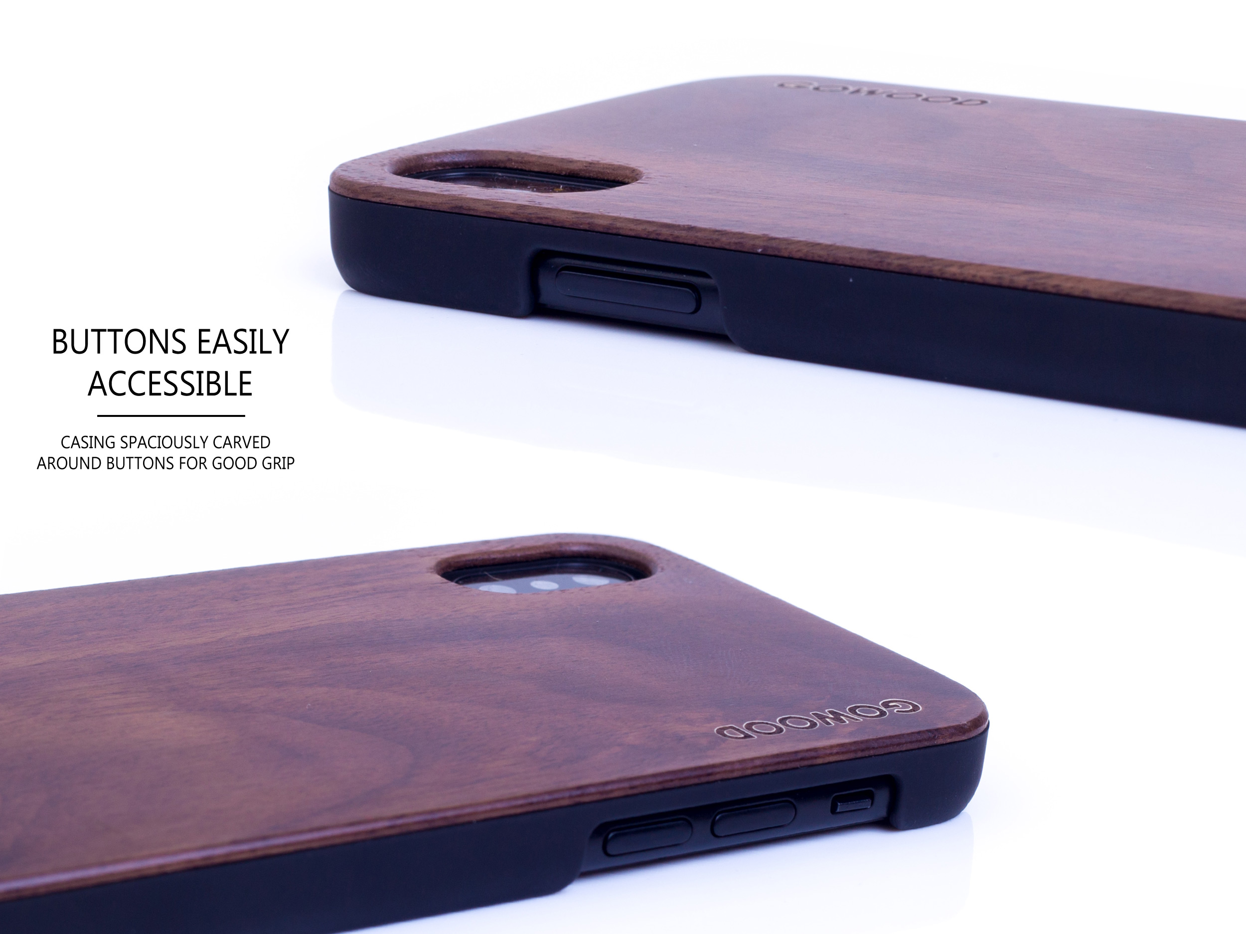 iPhone X and XS wood case walnut buttons