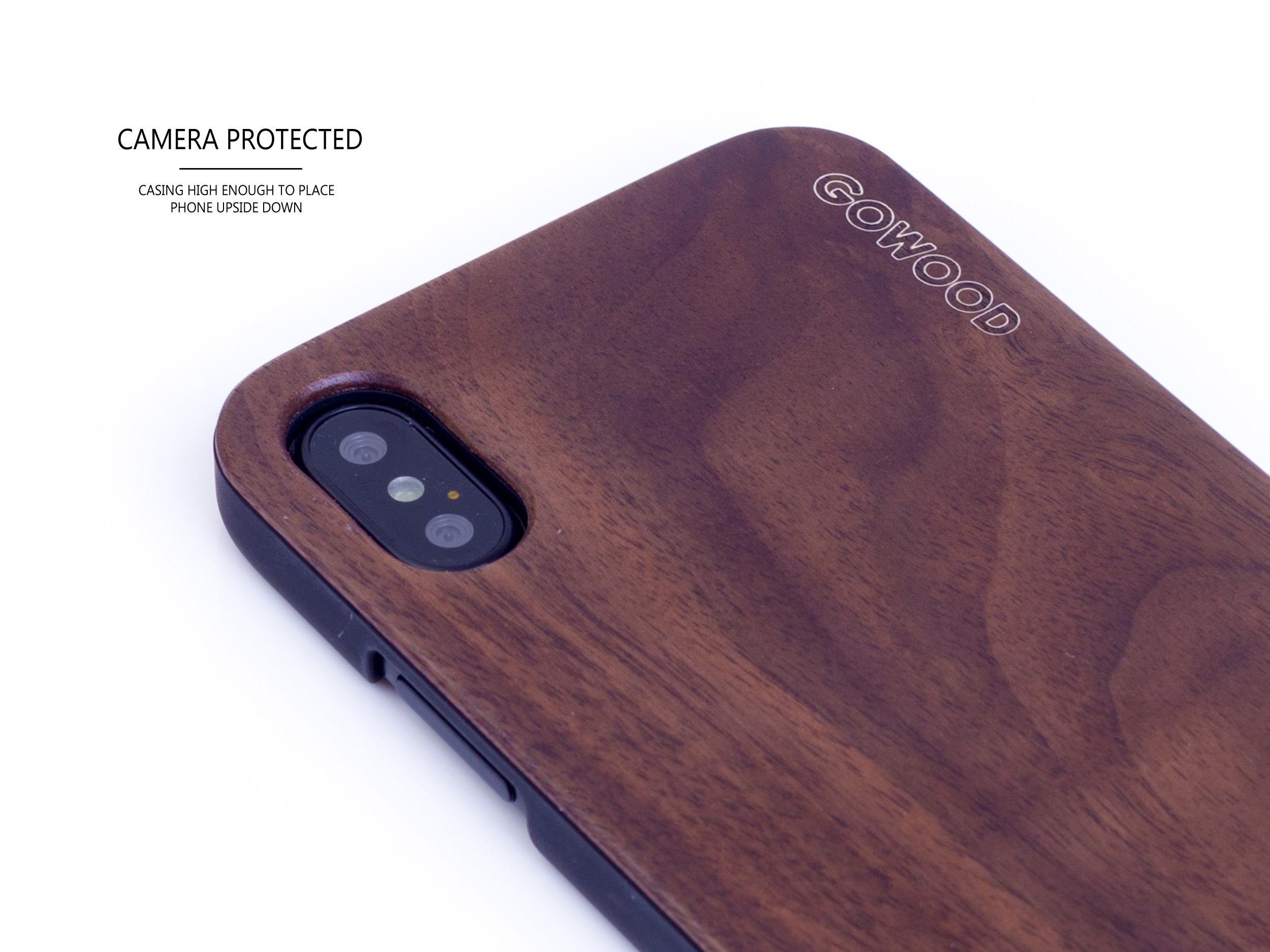 iPhone X and XS wood case walnut camera