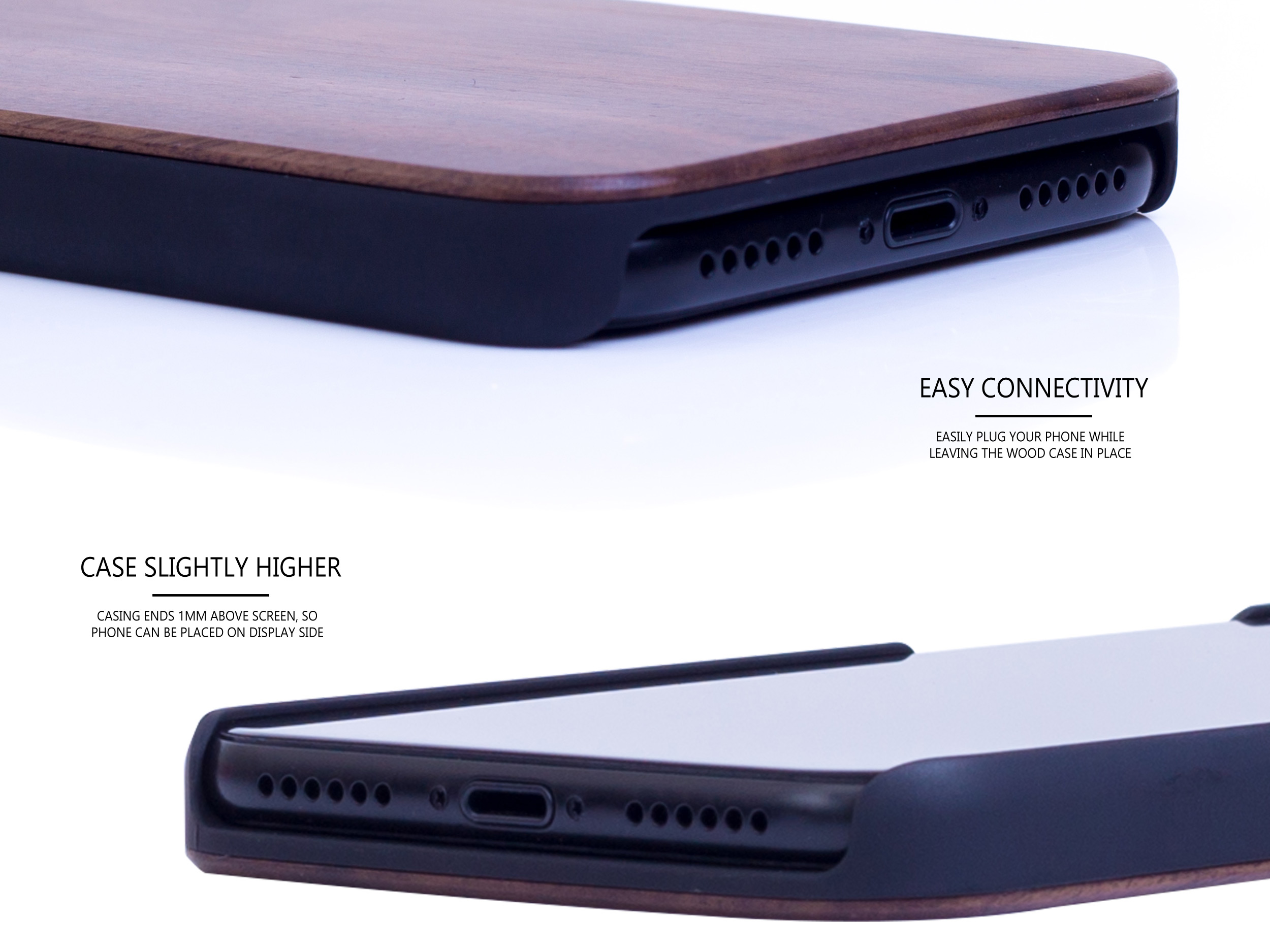 iPhone X and XS wood case walnut connectivity