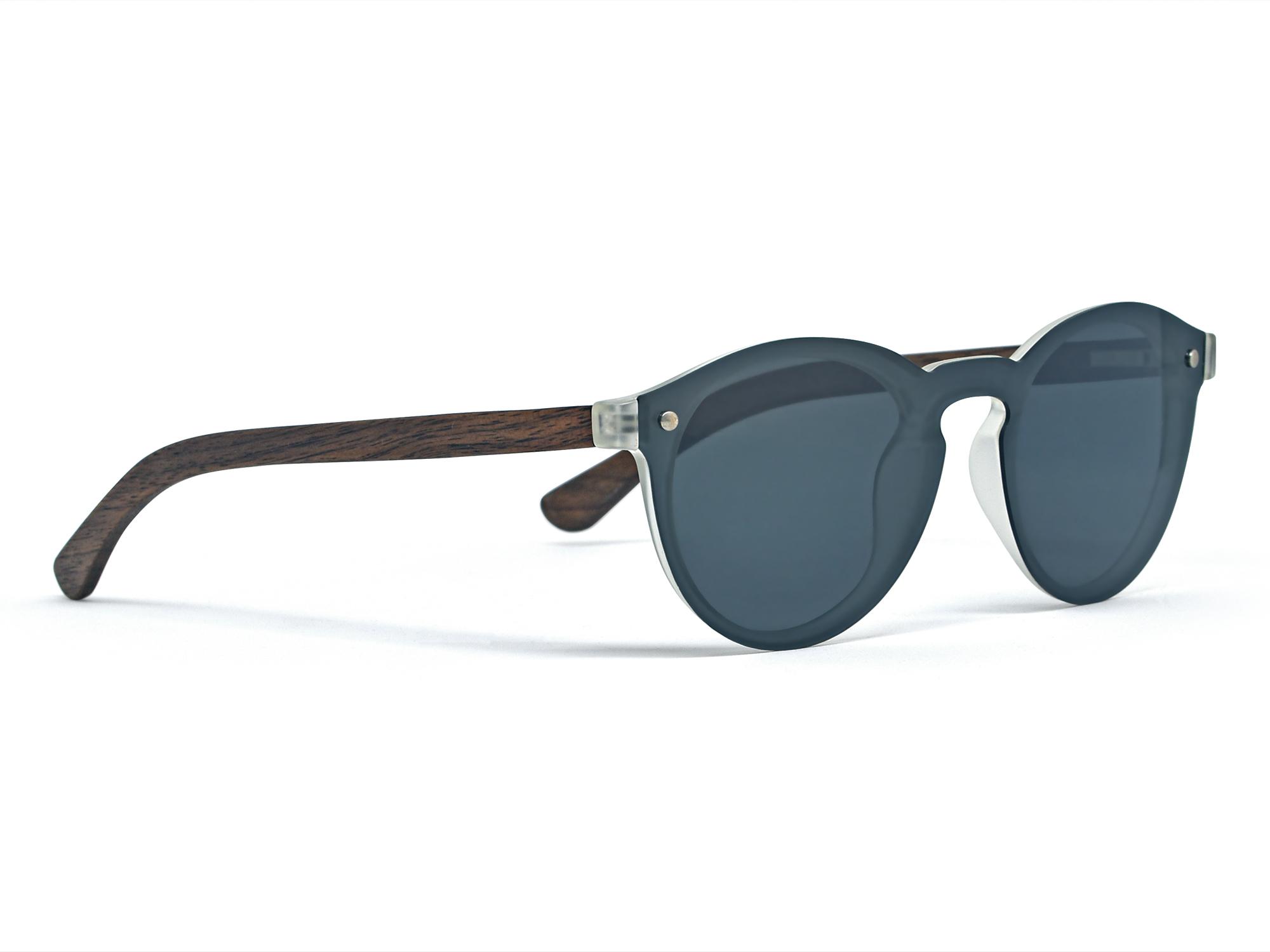 round walnut wood sunglasses