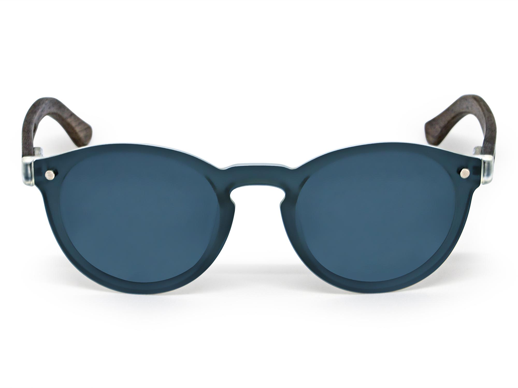 lunettes de soleil rondes en bois de noyer