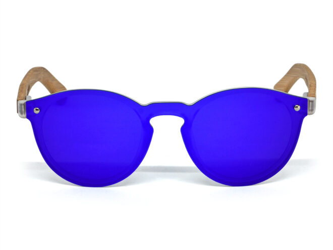 round bamboo wood sunglasses