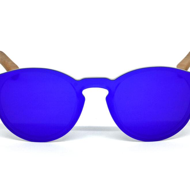 lunettes de soleil rondes en bois de bambou