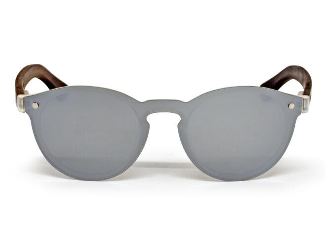 lunettes de soleil rondes en bois d'ébène