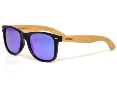 Bamboo wood sunglasses wayfarer style with blue mirrored polarized lenses