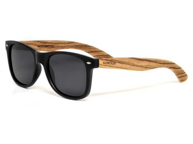 Zebra wood sunglasses wayfarer style with black polarized lenses