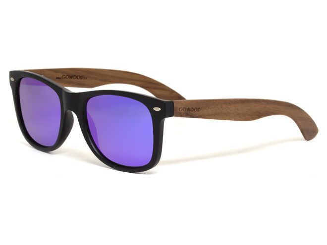 Walnut wood sunglasses blue mirrored lenses - angle