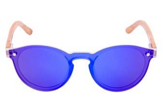 Round bamboo wood sunglasses front
