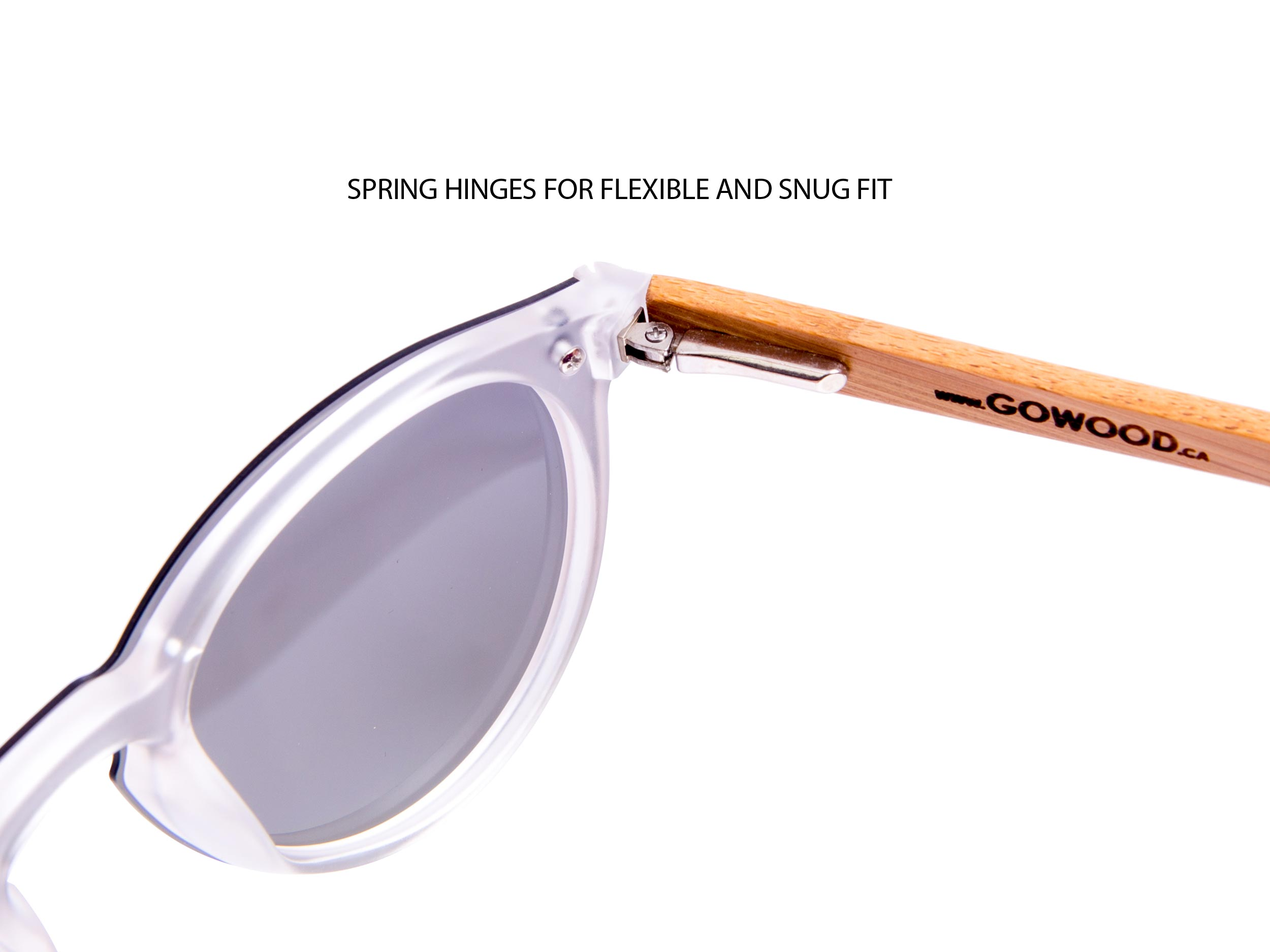 Round bamboo wood sunglasses hinge