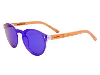 Round bamboo wood sunglasses left